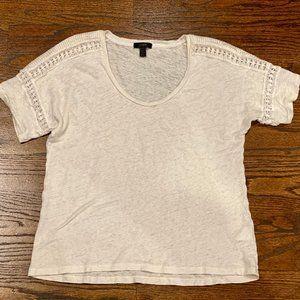 NWOT J. Crew Linen Lace Tee Shirt - Size M